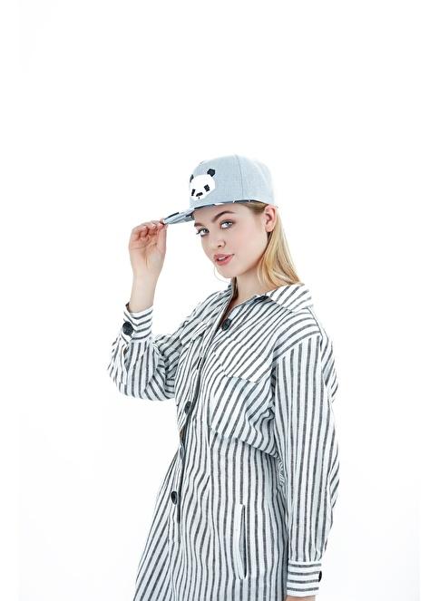 Laslusa Panda Hip Hop Snapback Şapka Gri